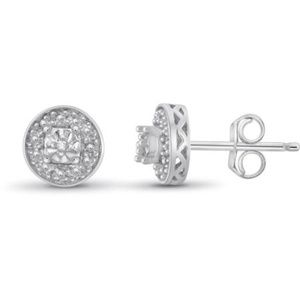 White Diamond Accent Sterling Silver Halo Stud Ear